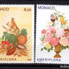 Sellos: MONACO 1830/31** - AÑO 1992 - FLORA - FLORES - FRUTOS- EXPOSION AMERIFLORA. Lote 295336363