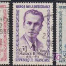 Sellos: FRANCIA - AÑO 1960 - HEROES DE LA RESISTENCIA. Lote 27532112