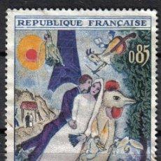 Sellos: FRANCIA 1963 - 0.85 F - YVERT 1398 - PINTURA : CHAGALL - USADO. Lote 8084218