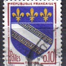 Sellos: FRANCIA 1962 - 0,10 F YVERT 1353 - TROYES - USADO. Lote 8086539