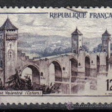 Sellos: FRANCIA 1955 - 12 F YVERT 1039 - PONT VALENTRE - USADO. Lote 8086975