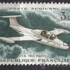 Selos: FRANCIA 1960-64 - 3 F YVERT A 39A - MORANE-SAULNIER 760 PARIS - USADO. Lote 8106742