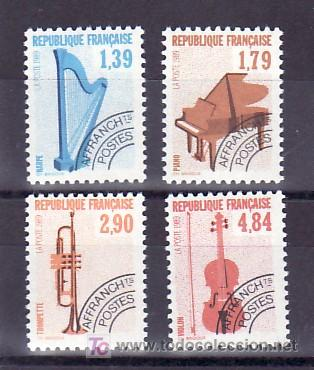 FRANCIA PRE-OBLITERADO 202/5 SIN CHARNELA, MUSICA, INSTRUMENTOS, ARPA, PIANO, TROMPETA, VIOLIN, (Sellos - Extranjero - Europa - Francia)
