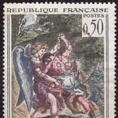 Sellos: FRANCIA IVERT Nº 1376, ARTE, DELACROIX, LUCHA DE JACOB CONTRA EL ÁNGEL, SELLO USADO. Lote 9794847