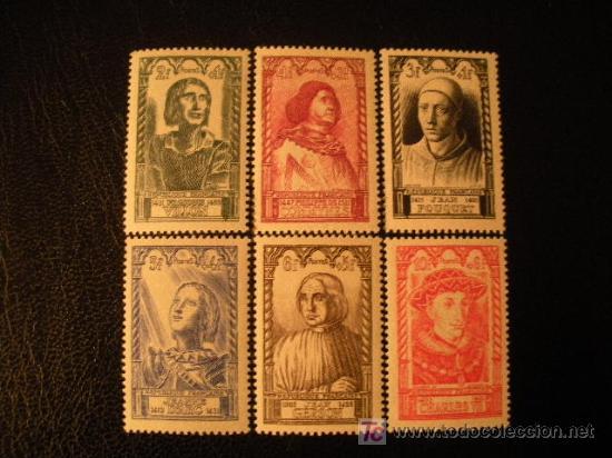 FRANCIA 1946 IVERT 765/70 *** PERSONAJES DEL SIGLO XV (Sellos - Extranjero - Europa - Francia)
