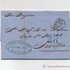 Sellos: CARTA DE MARSELLA A SEVILLA CON FECHADOR 27 NOV. 57 Y MARCA DE PORTEO '2R' EN AZUL. Lote 13835674