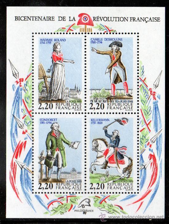FRANCIA AÑO 1989 YV HB 10*** BICENTº DE LA REVOLUCIÓN FRANCESA - PERSONAJES CÉLEBRES - CABALLOS (Sellos - Extranjero - Europa - Francia)