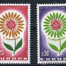 Sellos: FRANCIA AÑO 1964 YV 1430/31*** EUROPA - FLORES - FLORA. Lote 15747189