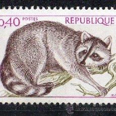Sellos: FRANCIA AÑO 1973 YV 1754*** CONSERVACIÓN DE LA NATURALEZA - FAUNA - RATÓN LAVADOR. Lote 15747389