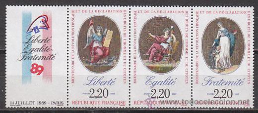 FRANCIA IVERT Nº 2576, BICENTENARIO DE LA REVOLUCIÓN FRANCESA, NUEVOS EN TRIPTICO CON VIÑETA (Sellos - Extranjero - Europa - Francia)