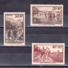 Sellos: FRANCIA 345/7 CON CHARNELA, DEPORTE, . Lote 20066378