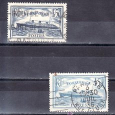 Sellos: FRANCIA 299/300 USADA, BARCO, PAQUEBOT NORMANDIA. Lote 20080246