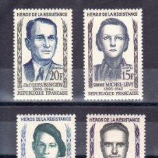 Sellos: FRANCIA 1157/60 SIN CHARNELA, HEROES DE LA RESISTENCIA. Lote 20459309