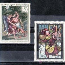 Sellos: FRANCIA 1376/7 SIN CHARNELA, PINTURA, LUCHA DE JACOB CON EL ANGEL DE DELACROIX Y VIDRIERA IGLESIA SA. Lote 21577220