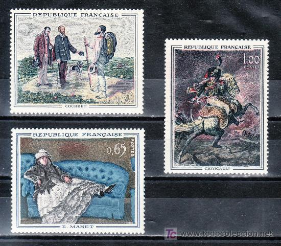 FRANCIA 1363/5 SIN CHARNELA, PINTURA DE COURBET, MANET Y GERICAULT (Sellos - Extranjero - Europa - Francia)