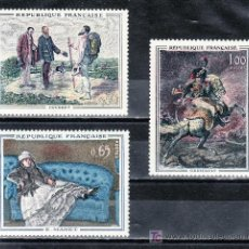 Sellos: FRANCIA 1363/5 SIN CHARNELA, PINTURA DE COURBET, MANET Y GERICAULT. Lote 21577222