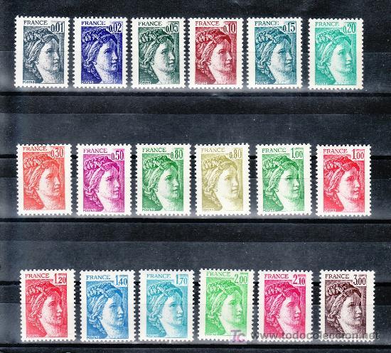 FRANCIA 1962/79 GOMA BRILLANTE SIN CHARNELA, SABINA (Sellos - Extranjero - Europa - Francia)