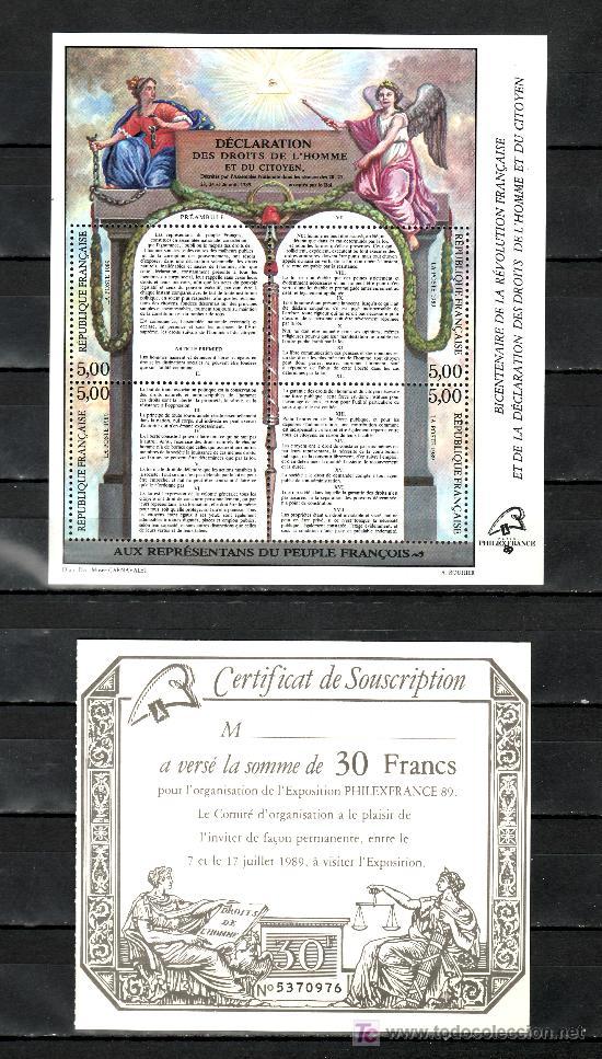 FRANCIA 2596/9 SIN CHARNELA, BICENTENARIO DE LA REVOLUCION Y LA DECLARACION DE LOS DERECHOS HUMANOS (Sellos - Extranjero - Europa - Francia)