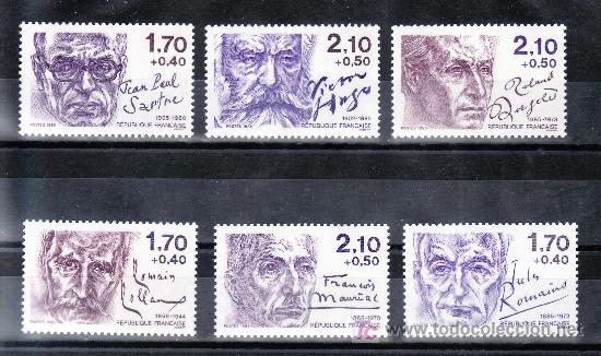FRANCIA 2355/60 SIN CHARNELA, PERSONAJES ESCRITORES, (Sellos - Extranjero - Europa - Francia)
