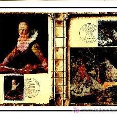 Sellos: FRANCIA 1702/3, 1732/3 DOCUMENTO C.E.F. 218, 218S PRIMER DIA, FRAGONARD, MONET, MOULINS, DERAIN. Lote 20970006