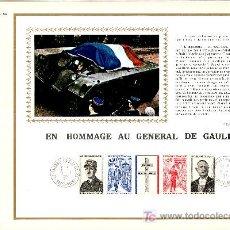 Sellos: FRANCIA 1698A DOCUMENTO C.E.F. 182E PRIMER DIA, HOMENAJE AL GENERAL DE GAULLE . Lote 25207449
