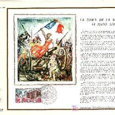 Sellos: FRANCIA 1680 DOCUMENTO C.E.F. 176 PRIMER DIA, TOMA DE LA BASTILLA . Lote 20989761