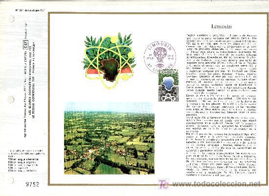 FRANCIA 1865 DOCUMENTO C.E.F. 351 PRIMER DIA, REGION DE LIMOUSIN (Sellos - Extranjero - Europa - Francia)