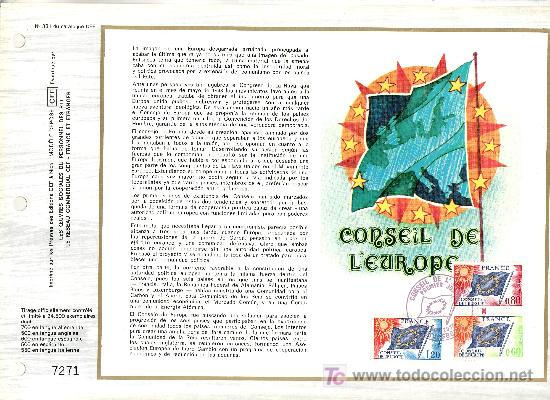 FRANCIA S 46/8 DOCUMENTO C.E.F. 331 PRIMER DIA, CONSEJO DE EUROPA, BANDERA (Sellos - Extranjero - Europa - Francia)