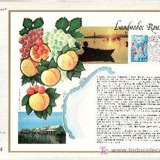 Sellos: FRANCIA 1918 DOCUMENTO C.E.F. 387 PRIMER DIA, UVA, BARCO, REGION DE LANGUEDOC-ROUSSILLON . Lote 48398163
