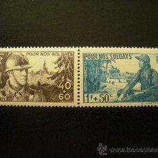 Sellos: FRANCIA 1940 IVERT 451/2 *** POR NUESTROS SOLDADOS - MILITARES. Lote 23357204