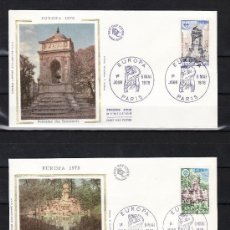 Sellos: FRANCIA 2008/9 O.P.P. PRIMER DIA, TEMA EUROPA, FUENTES DE LOS INOCENTES Y DEL PARQUE FLORAL . Lote 22573834