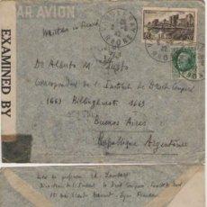 Sellos: 1942 II GUERRA MUNDIAL, SOBRE CON CENSURA MILITAR DE LYON, FRANCIA A BUENOS AIRES, ARGENTINA.. Lote 27467856