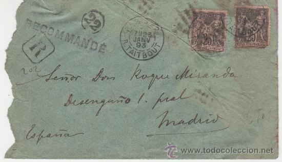 SOBRE PARIS MADRID 23 ENERO 1893 (Sellos - Extranjero - Europa - Francia)