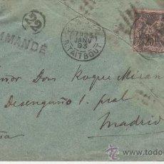 Sellos: SOBRE PARIS MADRID 23 ENERO 1893. Lote 24341729