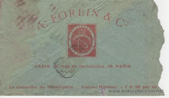 Sellos: SOBRE PARIS MADRID 23 ENERO 1893 - Foto 2 - 24341729