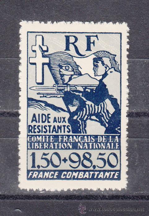 COLONIAS FRANCESA 65 SIN CHARNELA, ASISTENCIA EN LA RESISTENCIA (Sellos - Extranjero - Europa - Francia)