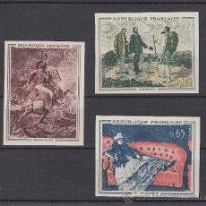 Sellos: FRANCIA 1363/5 SIN DENTAR SIN CHARNELA, PINTURA DE COURBET, MANET, GERICAULT . Lote 27290206