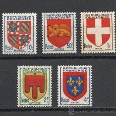 Sellos: FRANCIA 1949, YVERT Nº 834/838**, ESCUDOS DE PROVINCIAS.. Lote 28018093
