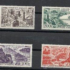 Sellos: FRANCIA 1949, YVERT Nº 24/27* CORREO AEREO, VISTAS AEREAS DE CIUDADES.. Lote 28018362