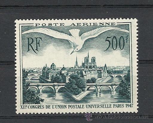 FRANCIA 1947, YVERT Nº 20*, AEREO, XII CONGRESO DE LA U.P.U.FIJASELLOS. (Sellos - Extranjero - Europa - Francia)