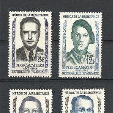 Sellos: FRANCIA 1958, YVERT Nº 1157/1160*, HEROES DE LA RESISTENCIA. FIJASELLOS.. Lote 28023496