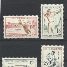 Sellos: FRANCIA 1958, YVERT Nº 1161/1164*, JUEGOS TRADICIONALES. FIJASELLOS.. Lote 28023600