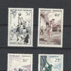 Timbres: FRANCIA 1956, YVERT Nº 1072/1075*, DEPORTES. FIJASELLOS.. Lote 28121545