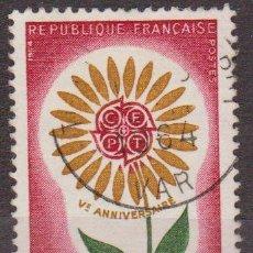 Sellos: FRANCIA 1964 SCOTT 1109 SELLO SERIE EUROPA FLOR 25C USADO FRANCE . Lote 28248030