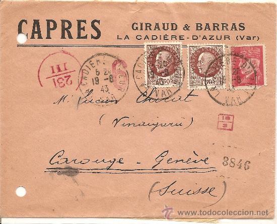SOBRE CENSURA MILITAR DE FRANCIA A SUIZA - AÑO 1943 - CENSURA ITALIANA - CON DIFERENTES MARCAS (Sellos - Extranjero - Europa - Francia)
