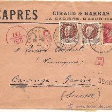 Sellos: SOBRE CENSURA MILITAR DE FRANCIA A SUIZA - AÑO 1943 - CENSURA ITALIANA - CON DIFERENTES MARCAS. Lote 28649781