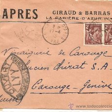 Sellos: SOBRE CENSURA MILITAR DE FRANCIA A SUIZA - AÑO 1945 - CENSURA FRANCESA . Lote 28649943