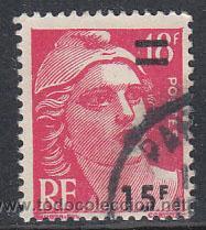 FRANCIA IVERT 968, MARIANNE DE GANDON SOBRECARGADO, USADO (Sellos - Extranjero - Europa - Francia)
