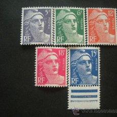 Sellos: FRANCIA 1951 IVERT 883/7 *** MARIANNE DE GANDON - PERSONAJES. Lote 30541354
