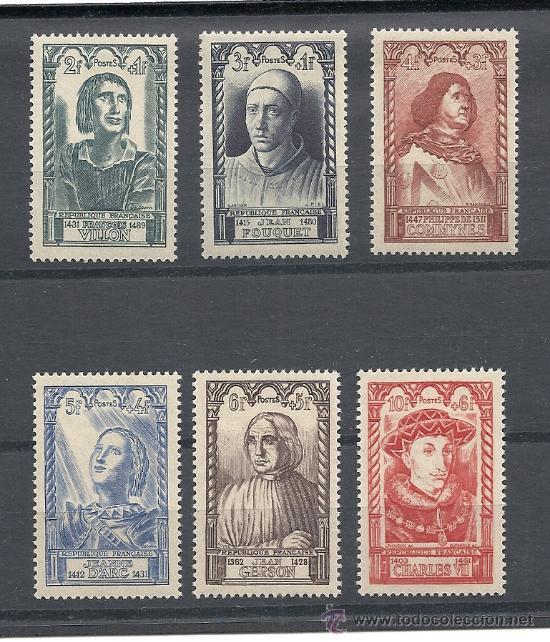 FRANCIA 1946, YVERT Nº 765/770*, PERSONAJES DEL SIGLO XV. FIJASELLOS. (Sellos - Extranjero - Europa - Francia)